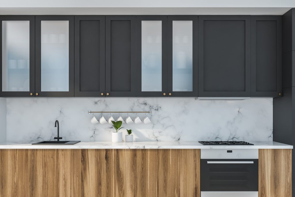 Marble Kitchen Close Up With Wooden Countertops