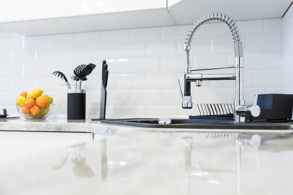 Fancy Sink In A Mostly White Modern Kitchen