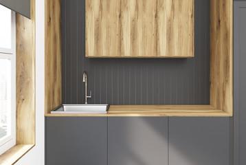 Light Stain Dark Gray Modern Cabinets
