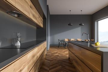 Natural Stain Modern Kitchen Cabinets