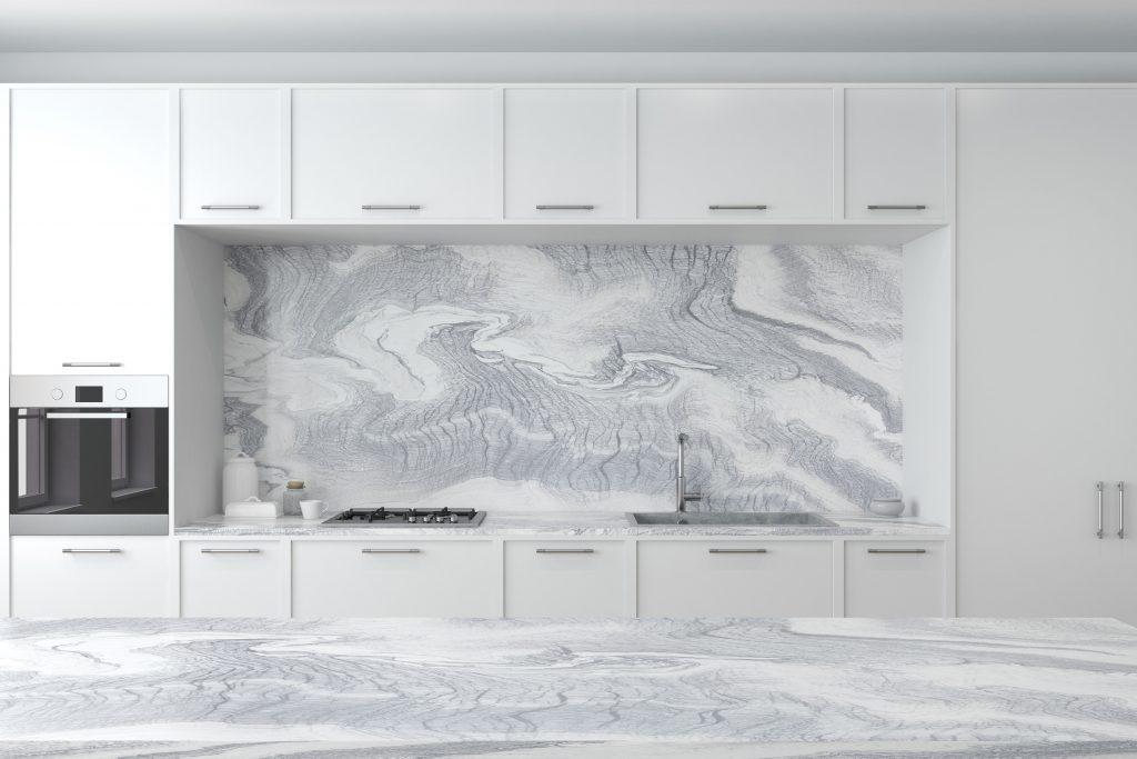 White Marble Kitchen Interior Close Up