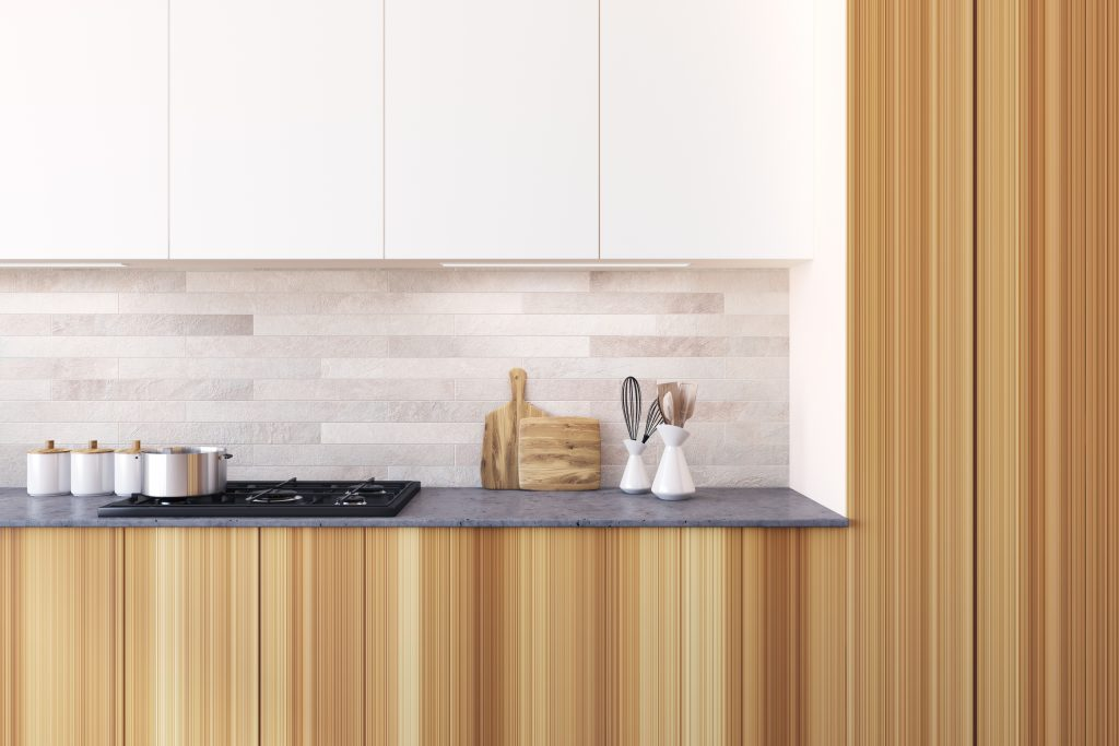 Wooden Kitchen With A Bar, A Close Up